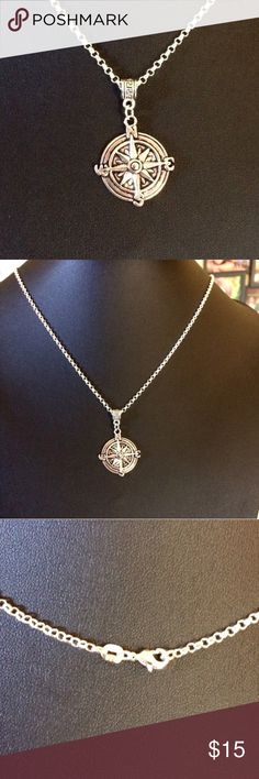 Compass Sterling chain necklace This is an antiqued silver compass with a 925 Sterling silver chain. Compass is 1 inch across. NWOT Jewelry Necklaces