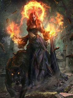 Who bears a halo of fire