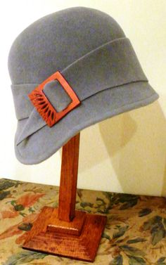 Grey cloche with vintage buckle by Daisy Darling