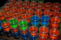 Great Jello shots recipes:   Sex on the Beach (orange and cranberry jello, plain vodka, peach snapps) Rum and Coke (dark cherry jello, light rum, coke) Lemon Drop (lemon jello, citrus vodka, sugar sprinkles) Grape Crush (grape jello, plain vodka, chambord) Hawaiian (pineapple (or blueberry) jello, coconut rum) Gin and Tonic (lime jello, gin, tonic water) Margarita (lime jello, tequila, triple sec, lime juice, salt sprinkles) Lemon Lime (lemon and lime jello, citrus vodka, sprite