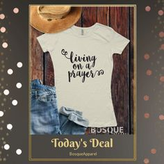 Today Only!  this item.  Follow us on Pinterest to be the first to see our exciting Daily Deals. Today's Product: Sale -  Sale -  Living On A Prayer T-Shirt / music inspired T-shirt Top Tee Shirt Script Inspired design - Ink Printed Buy now:  #country #countrymusic #fashion #tshirts #countrygirl #etsy #etsyshop #etsyfinds #etsygifts #musthave #loveit #photooftheday #picoftheday #love #OTstores #smallbiz #sale #dailydeal #dealoftheday #todayonly #instadaily
