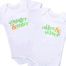 Younger & cuter/ Older & wiser for twins Claire would be the younger & cuter and Gunner would be the older and wiser!