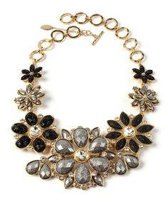 Loving this Gold & Gunmetal Crystal Paragano Evening Bib Necklace on #zulily! #zulilyfinds