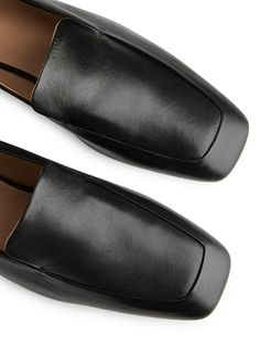 Square Toe Leather Loafers - Black - Shoes - ARKET GB Napa Leather, Leather Loafers, Black Shoes, Abs, Slippers, Women, Leather Dress Shoes, Black Loafers, Crunches