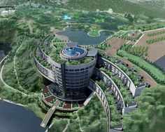 Songjiang InterContinental Hotel - built into the side of a former rock quarry just a short drive from Shanghai Unique Architecture, Concept Architecture, Futuristic Architecture, Sustainable Architecture, Landscape Architecture, Future Buildings, Modern Buildings, Fantasy City, Futuristic City