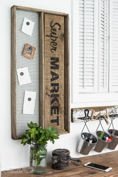 5 minute Super Market soil sifter magnetic board using Funky Junk's Old Sign Stencils / funkyjunkinteriors.net