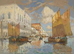 Konstantin Gorbatov (1876 — 1945, Russia - Germany) The Doge's Palace. Venice. Gouache on paper. 35.7 x 47.8 cm.