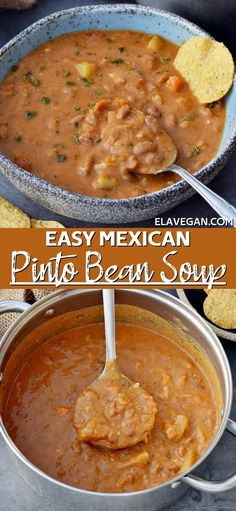This Mexican-inspired pinto bean soup is creamy, hearty, nourishing, and absolutely packed with flavor! Combining pinto beans, fire-roasted tomatoes, veggies, broth, and Mexican seasonings leads to a soup that is ridiculously more-ish. Plus, this recipe can be made in just one pot, is gluten-free, dairy-free, vegetarian (vegan), high-protein, high-fiber, low-fat, and not to mention low-cost! Easy Stew Recipes, Bean Soup Recipes, Cooking Recipes, Chili Recipes, Mexican Bean Soup, Mexican Pinto Beans, Mexican Food Recipes, Whole Food Recipes, Vegetarian Recipes