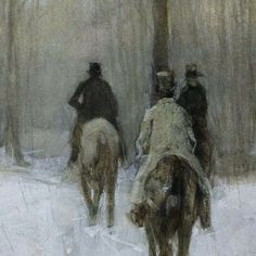 "la-belle-epoche: "" Anton Mauve (Dutch, 1838-1888) Riders in the Snow in the Haagse Bos, 1880 Watercolour and white bodycolour on paper Rijksmuseum, Amsterdam """