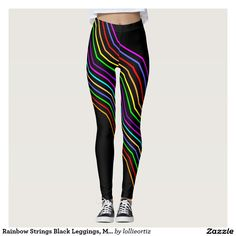 Rainbow Strings Black Leggings, M (8-10) Leggings