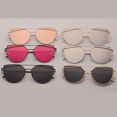 """Cat Eyez"" Multicolor Metal Frame Mirror Lens Aviator Sunglasses"