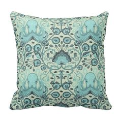 BOGO Octopus Garden - Coral Blue - Nautical Boho Sea - 14x14 16x16 18x18 - Decorative Removable Envelope Pillow Case Cushion Cover - Decor on Etsy, $25.00