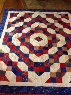 I wanted to make a Fourth of July quilt it was a nice easy piece going to take it to our vacation spot on the fourth they have a wonderful parade and Us Vacation Spots, Quilting Board, Blue Quilts, Quilting Projects, Fourth Of July, Blanket, Red, Blankets, Cover