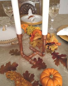 Copper Pipe Candle Holder Industrial Design by MacAndLexie on Etsy