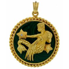 VAN CLEEF & ARPELS Malachite & Gold Aquarius Zodiac Pendant
