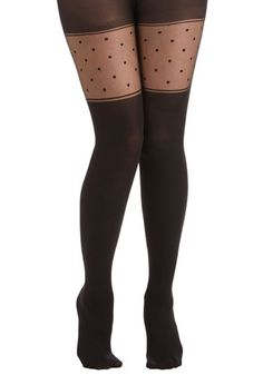 Just My Style Tights - Black, Polka Dots, Party, Girls Night Out, Film Noir, Pinup, Sheer, Knit, Solid