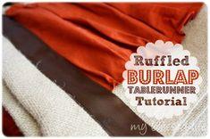 Ruffled Burlap ~~ Table Runner
