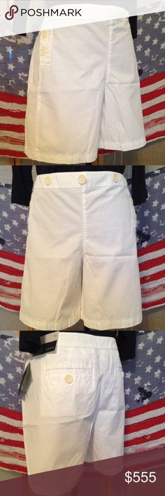 Liz Claiborne Take an Ocean Voyage Shorts 16W NWT Take a Voyage in these White Button Shorts by Liz Claiborne. Feature button pockets on back matching front motif. Button down front left & right. 100% Soft Cotton. NWT. Sits lower on the waist. Liz Claiborne Shorts
