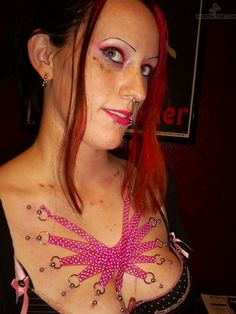 Beautiful Chest Corset Piercing