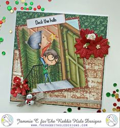 """I used the """"Love you More"""" stamp set from The Rabbit Hole Designs to create this little scene. Colored with Copic Markers by Jammie Clark of Sweet Sentiment. Deck The Halls, Rabbit Hole, Love You More, Copic Markers, Scene, Stamp, Create, Cards, Color"""