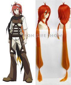 (28.38$)  Watch more here  - 120cm Long Orange Red Rokka no Yuusha/Rokka: Braves of the Six Flowers Adlet Mayer Cosplay Costume Wig