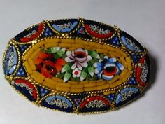 Vintage-Early-Italian-Glass-Millefiori-Micro-Mosaic-Floral-Brooch-Oval-Pin-SGD