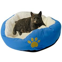 Evelots Small Round Pet Bed For Cats & Dogs Comfortable Soft & Warm, Blue