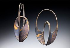 18 K & Sterling Mokume Gane Continuum Hoops: Stephen LeBlanc: Gold and Silver Earrings - Artful Home