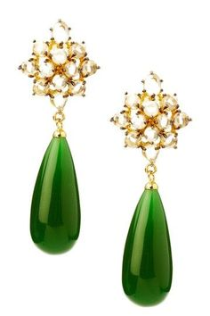 These emerald drop earrings are perfect for holiday parties