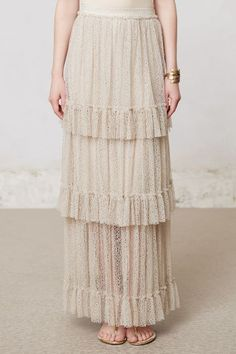 Tiered Lace Maxi Skirt - anthropologie.com