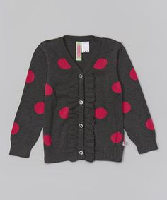 Another great find on #zulily! Charcoal Polka Dot Ruffle Cardigan - Infant, Toddler & Girls by Sophie & Sam #zulilyfinds