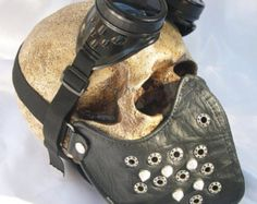 STEAMPUNK MASK - 2 pc Black Faux Leather Dust Riding Mask with Eyelets and Spikes and Steampunk Goggles - Burning Man Mask