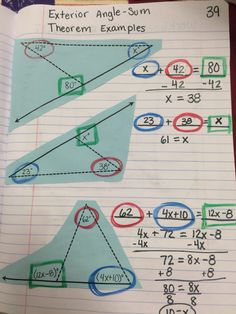 Exterior angle sum theorem examples - color with a purpose (image only)