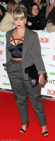 Hollyoaks actress Jessica Fox tried out a tailored look but didn't convince with her Charlie Chaplin trousers and bondage-style bra trop Georgie Porter, National Tv Awards, Jessica Fox, Actress Jessica, Hollyoaks, Fashion Fail, Charlie Chaplin, In The Flesh, Red Carpet Fashion