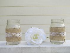 western wedding centerpieces in mason jars | Burlap and Lace Mason Jar Wedding Centerpieces or Decorations