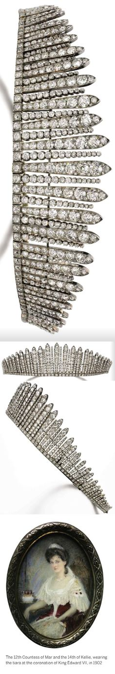 Fringe diamond tiara/necklace, c1880s. Formerly in the collection of the Earl of Mar and Kellie. Lanceolate motifs set with circular cut diamonds, interspersed with lines of collet set diamonds. 1880s. Can detach into five sections. Images Sothebys