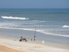 Surf fishing on Flagler Beach.