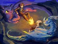 Hiccup and Astrid with their dragons, relaxing while on an adventure or something.