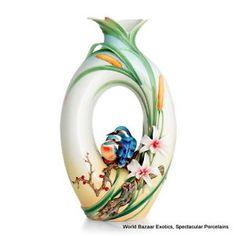 FZ02895 Franz Porcelain Kingfisher large vase Edition 999 New 2012 | eBay