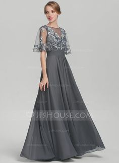 A-Line/Princess Scoop Neck Floor-Length Chiffon Sequined Mother of the Bride Dress With Ruffle - Mother of the Bride Dresses - JJ's House Formal Dresses With Sleeves, Mob Dresses, Elegant Dresses, Fashion Dresses, Bride Dresses, Mother Of The Bride Gown, Mother Of Groom Dresses, Long Gown Dress, Chiffon
