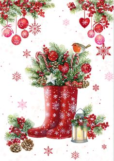 A more traditional approach to Illustration with these lovely festive wellie boo. - A more traditional approach to Illustration with these lovely festive wellie boots by Advocate's - Christmas Scenes, Christmas Pictures, Christmas Art, Winter Christmas, All Things Christmas, Vintage Christmas, Christmas Decorations, Coastal Christmas, Christmas Clipart