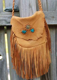 Deer skin leather/ Fringed /Boho/gypsy/ crossbody bag/handbag/purse by Tigerags on Etsy