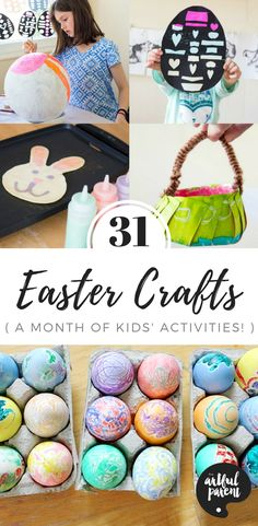 Looking for ideas for Easter crafts for kids? Here are 31 Easter egg decorating ideas, arts and crafts projects, activities, and even a great Easter book list. All perfect for family fun!  #easter #eastercrafts #kidscraft #artsandcrafts