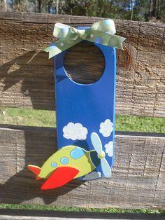 Personalizable Airplane Wooden Door Hanger by thehoneybeeshop, $10.00