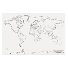 blank map of the world with countries and capitals