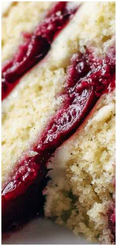 Fresh Cherry Cake Recipe From Scratch ~ Soft and moist vanilla cake meets 5 ingredient cherry pie filling and creamy vanilla buttercream.