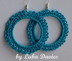 Pattern for adorable crocheted lacy earrings-hoops with beads.