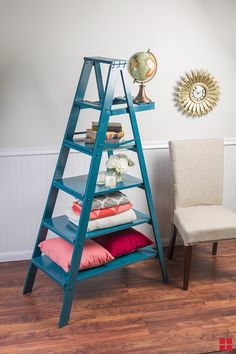 DIY Ladder Shelf: Upcycle a wooden ladder into a chic bookshelf with a few coats of Rust-Oleum spray paint. Here's how you can make this shelf in a few steps. | RustOleum.com/Inspiration