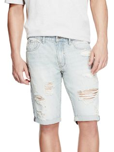 Destroyed Striped Shorts