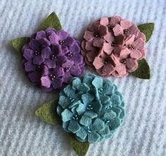 2 Inch Wool Felt Hydrangea #feltflowers